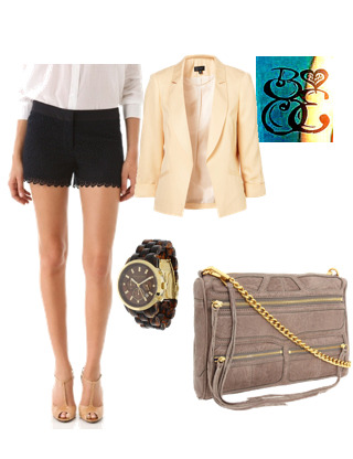 Love it Shrunken Blazer, Topshop for $110Michael Kors MK5216, Michael Kors for $250Rebecca Minkoff - M.A.C. Triple Zip, Rebecca Minkoff for $330Club Monaco Diaz Lace Shorts, Club Monaco for $149