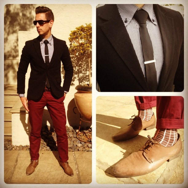 whatmyboyfriendwore:  Black & Burgandy (Taken with Instagram)