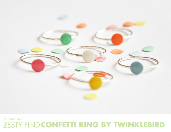 littlecraziness:  (via {zersty find} confetti ring from twinklebird - 74 Lime Lane | 74 Lime Lane)