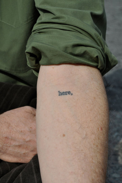 "osculateme:   jewrassicpark:  From, ""Literary Ink: Famous Authors and Their Tattoos."" Rick Moody has one of the coolest tattoos possible (in our opinion), because it's part of Shelley Jackson's Skin project, a 2095-word story published exclusively in tattoos, one word each on as many willing volunteers, so it can never be read in its proper order, but just exists, pulsing, out in the world at all times. Photo via NY Press.   oh my fucking god, that's beautiful  I'm part of Skin too:  'bruises.' The end of a sentence (Dredd was added later)."