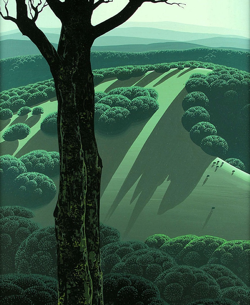 brazenswing:  Eyvind Earle: Green Hillside, 1970.