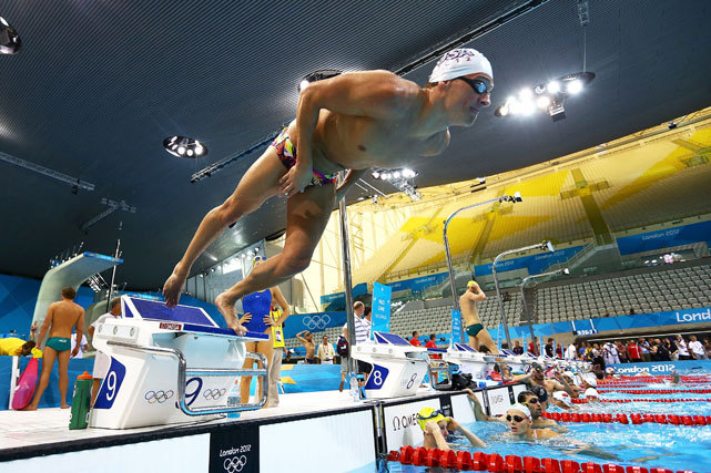 Ryan Lochte of the United States dives off of the starting block during a training session at the Aquatics Centre in Olympic Park on Wednesday. (Al Bello/Getty Images) GALLERY: World Championship Swimmers to Watch