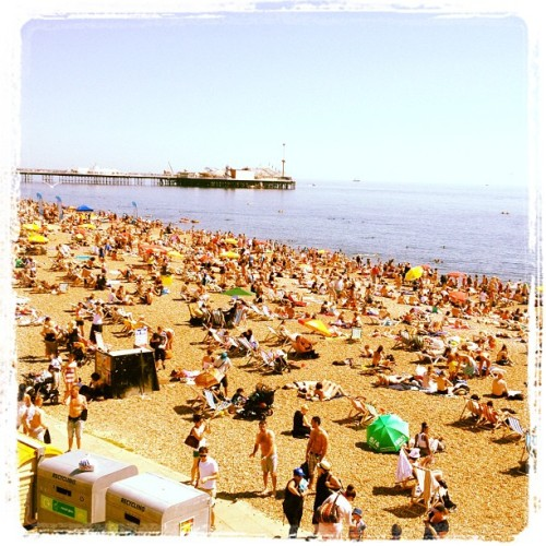 Brighton beach - wonder if there's any space to sit… (Taken with Instagram)