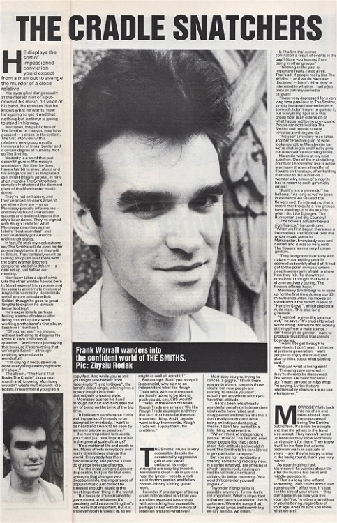 Frank Worrall interviews Morrissey for one of The Smiths' earliest interviews in Melody Maker, 3 September 1983.