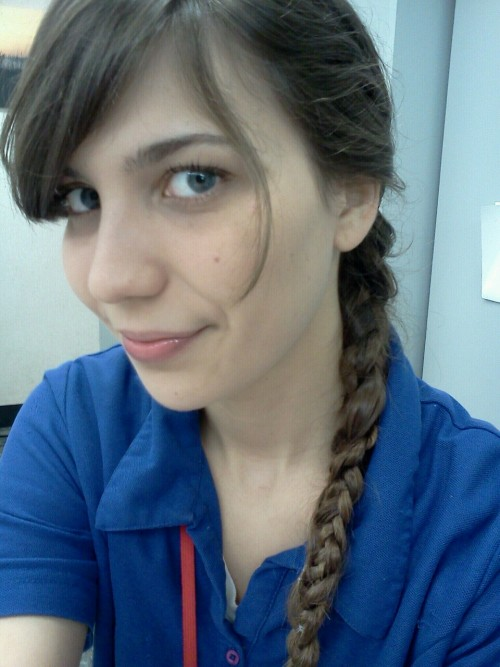 I tried out the braid within a braid hairstyle, too bad my phone has crappy picture quality. :p