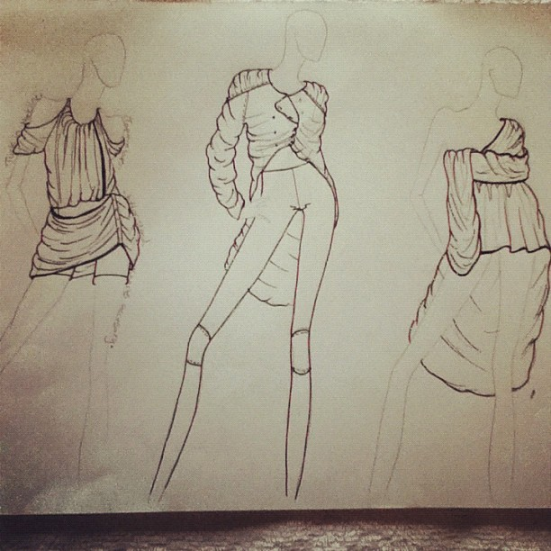 My design drawings for #lisof #fashion #drawing #sketch #leggings #jacket #dress #wrap and #drape #mulletdress #skirt #clothes  (Taken with Instagram)