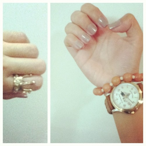Nude #nailpolish #ring #watch #ootd #accessories #brown #gold #beads #instamood #instagood #instagram (Taken with Instagram)