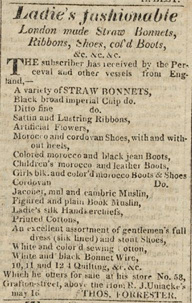Ladies fashion for sale on Grafton Street, Halifax, ca. 1818. From the Acadian Recorder.