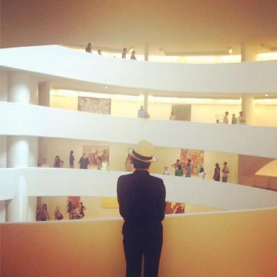 Yoko Ono visits the Guggenheim and our current exhibition Art of Another Kind.  Photo courtesy of Yoko's amazing Instagram feed: http://instagram.com/p/NgUzwZDzlA