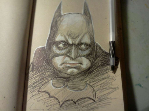 More like Batton Oswalt. (via Portrait of @PattonOswalt as the Batmans. (journal entry) on Twitpic)