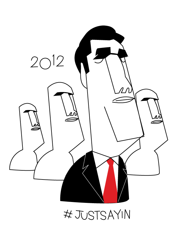 scarygoround:  Of course I have a Mitt Romney drawing too. Here he is with some GOP apparatchiks(?)  Once you see it…