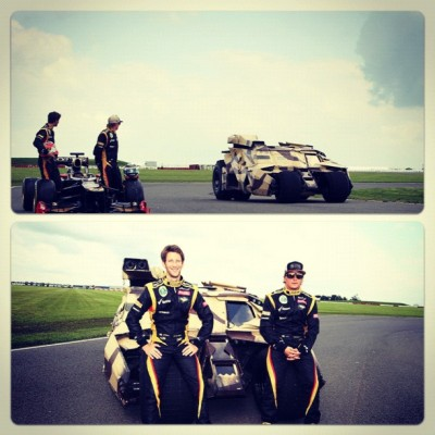 Lotus boys hanging out with the #batmobile #f1 #britishgp #lotusf1team  (Taken with Instagram)