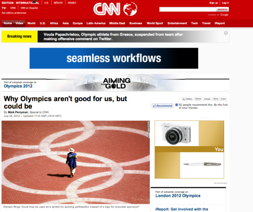 Mark Perryman on CNN.com: Why the Olympics Aren't Good for Us, But Could Be