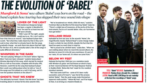 Mumford & Sons are featured in the 28th July 2012 issue of NME Magazine as part of the In The Studio Special. Words: Leonie Cooper/Jenny StevensPhoto: Andrew Whitton Click the image to zoom and enjoy!