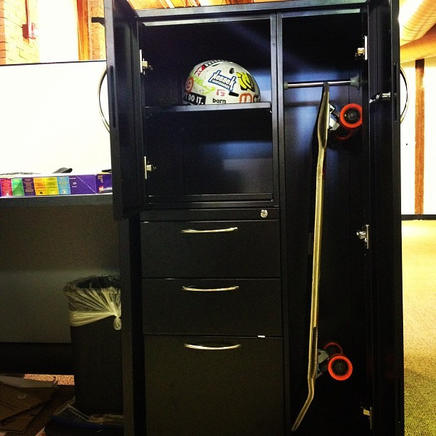 New organizers here at the #gform office have a perfect #longboard locker and helmet shelf. #dope  (Taken with Instagram)