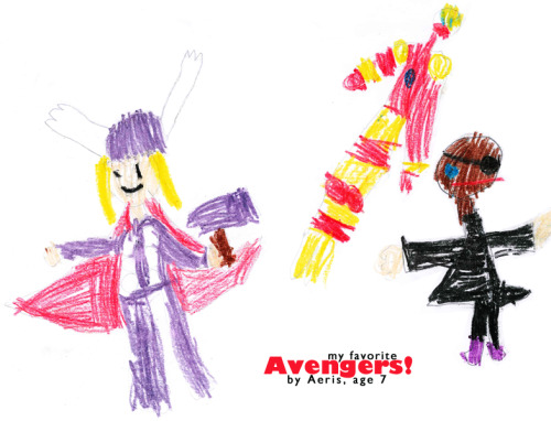 "The latest masterpiece by Aeris featuring her favorite Avengers: Thor, Iron Man, and ""Eye Patch Dude""."