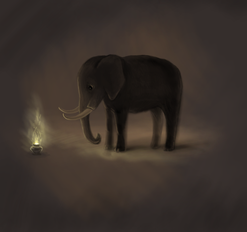 bluecuracao:  Curious Elephant by ~nino4art