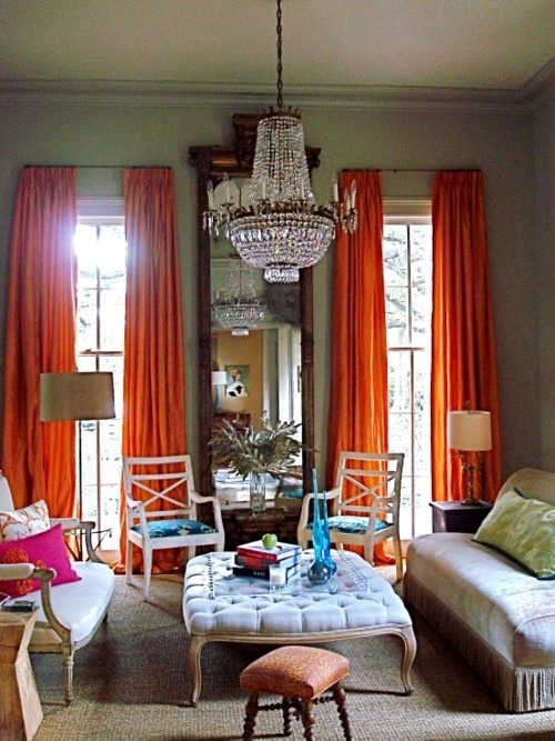 thedecorista:  orange curtains. LOVE