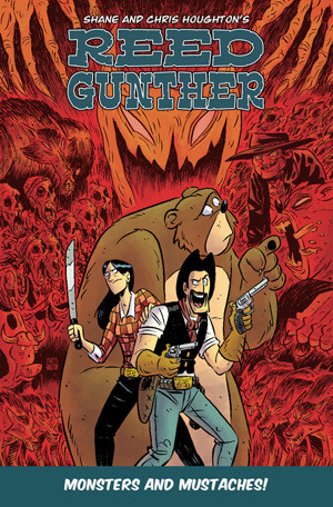 "REED GUNTHER Vol. 2 TPB ""Monsters and Mustaches"" lands in comic shops today! This is a jam-packed collection containing issues #6-10, sketches with commentary, process work, multiple short stories including the first Reed Gunther story ever created written and drawn by Chris, and pin-ups from some of the industry's greats! Chris and I will be doing a signing at House of Secrets in Burbank, CA today from 1-3PM! Thanks to everyone who has been reading the book and supporting us as we pursue this wild career in comic creation!  You guys rock!"