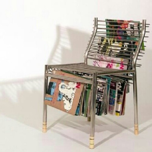 blvdnit3:  Creative. The magazine rack chair. #invention #furnituredesign #art (Taken with Instagram)  Imagine all the lines on your butt after sitting on that chair. LOL.
