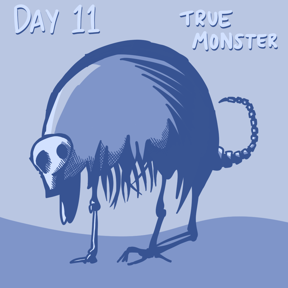 30 DAY MONSTER GIRL CHALLENGE Day 11: True Monster Almost the opposite of the succubus, this is not very girly on the monster v. girl slider. Perhaps I went a little stylized but whatever I had fun. May or may not be (read: totally is) inspired by Gravelord Nito.