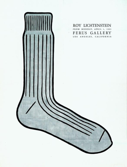 "Amazing FERUS GALLERY ""Exhibition Poster"" of a ""sock"" for a ROY LICHTENSTEIN show in Los Angeles, CA. 1963…."