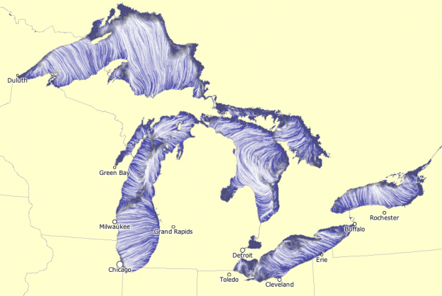 Great Lakes currents map  Using the same tech Martin Wattenberg and Fernanda Viegas created to show wind flow, the NOAA Great Lakes Environmental Research Laboratory mapped water flow in the Great Lakes, based on forecasting simulations.