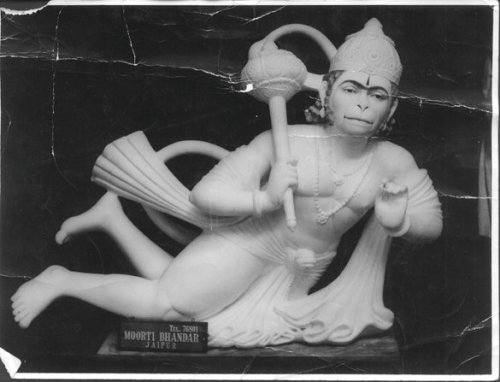 Hanuman Murti destined for the Neem Karoli Baba Ashram & Hanuman Temple in Taos, NM - a rare look at Hanumanji before painting.
