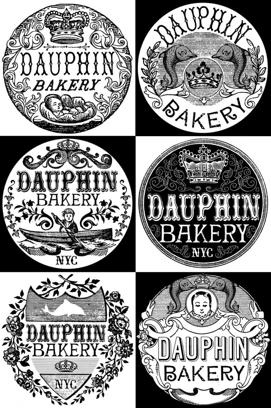 DAUPHIN BAKERY (LABEL CONCEPTS) My good friend is starting an all-natural French-style bakery. She'll be making rich, buttery pastries (madeleines, macarons, pain au chocolat) - delicious and free from common allergens. She got into this because she wanted her son to enjoy all of the good stuff in life. He was born with numerous allergies, so she had to sort of re-invent all of her old recipes. Clearly, this is a huge undertaking, but a noble one. She makes amazing salty brownies with hemp milk (or was it almond milk?) Not sure. But they are fantastic. These are a few of the initial concepts for a circular label to be stuck on a cellophane wrapper.