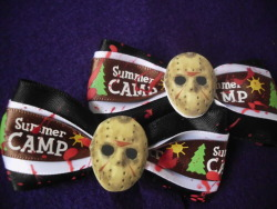 Friday the 13th Jason Voorhees blood-splattered hair clips in my Etsy shop!