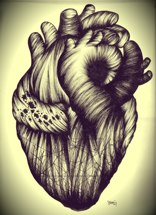 just-art:  Heart by Errecì Ink on paper.