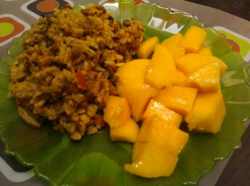 Lentil curry pilaf, mango. I'm totally due for a big ass salad.