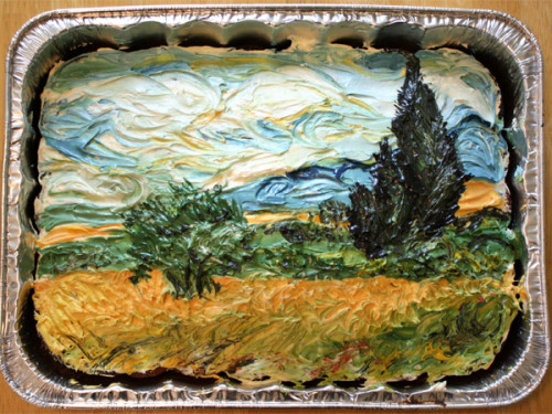 "Doesn't this cake version of Vincent van Gogh's ""Wheat Field with Cypresses"" look delicious?"