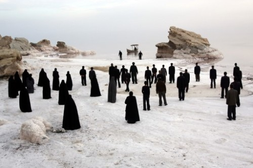 seensense:  People overlooking the beautiful salt Lake Urmia in Iran before it dries up due to the dam built nearby by the government