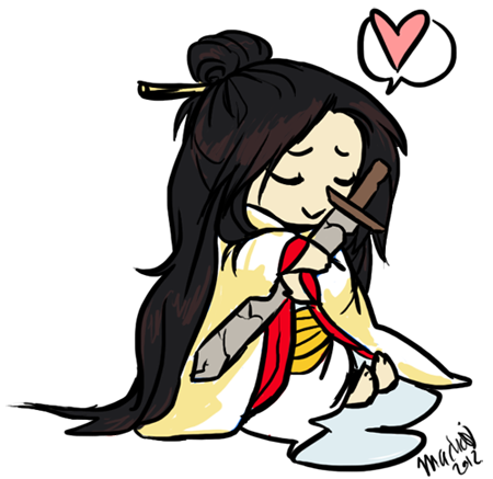 FANARTSIES TIME! Feng Ming from Feng yu jiu tian. Hugging the Unparalleled Sword :D  The clothes look like crap, Chinese clothing Clothing in general is not my strong point…but whatever! It's chibi so it doesn't matter, right…? @___@