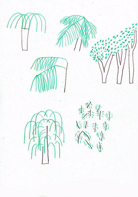 giadaganassin:  i tried to draw the trees i saw at the park.. so many kind of leaves