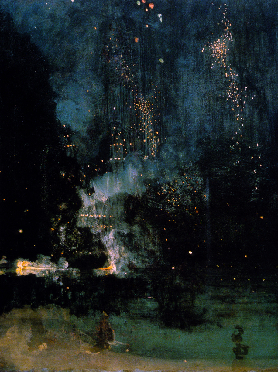 James Abbott McNeill Whistler - Nocturne in Black and Gold: The Falling Rocket, 1875 - oil on wood