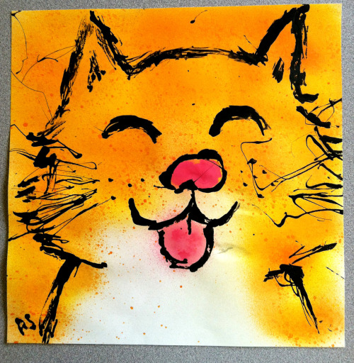 Spray paint cat painting!