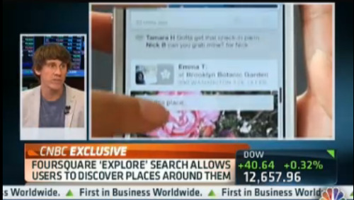 "dpstyles:  I was on CNBC this morning talking about the launch of foursquare's first revenue-generating tools for local merchants.  You can watch the clip (5 mins) or read more on our blog.   In just under 3 years we've gone from ""That checkin thing will never work"" to ""This is how foursquare plans on generating scaleable, repeatable revenue"".   This is a big deal and a huge congrats goes out to our team for an amazing launch.  oh, ps:  we're hiring :)  These Promoted Updates make a lot of sense to me because they aren't ads shoved in your main social feed, they're in the Explore area. That's all about intent. You're looking for something to do, and there are vendors that are willing to pay for placement to entice you do it with them. And they're not just blind spray-and-pray-and-pay ads, they're tailored to your other activity (past and social) on Foursquare. Disclosure: CrunchFund is an investor in Foursquare precisely because we believe it will grow into a big business using ideas like the one above."