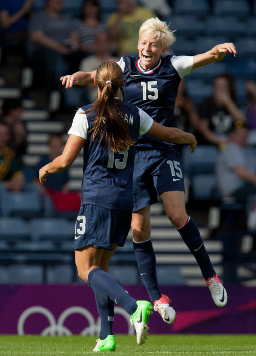 Megan Rapinoe & Alex Morgan celebrate after AM scored her second goal of the match. 4-2 the final over France. — #USWNT fans, follow up @TrapitSports!