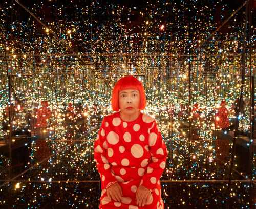Be Sure to check out the story of Yayoi Kusama in the October Issue of Hi-Fructose! whitneymuseum:  Yayoi Kusama in her installation Fireflies on the Water (2002) two weeks ago. The room is currently on view at the Whitney as part of Kusama's retrospective.  Photograph by Jason Schmidt, whose artist portraits are worth spending some time with.