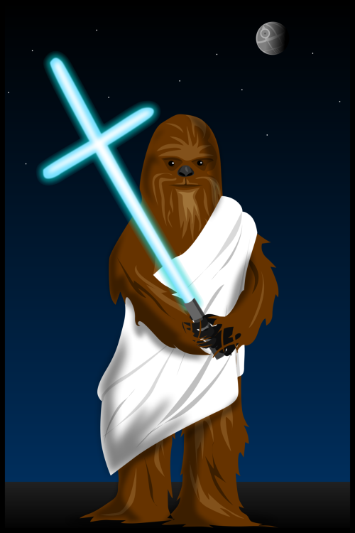 Wookiee Jesus died for your sins.  Buy the print here.