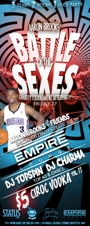 TOYBOX ladies night out THIS FRIDAY @empireloungesea the BATTLE OF THE SEXES EDITION Immediately following the Aaron Brooks Battle of the Sexes Bowling Tournament at SkyWay Park Bowl and Casino.