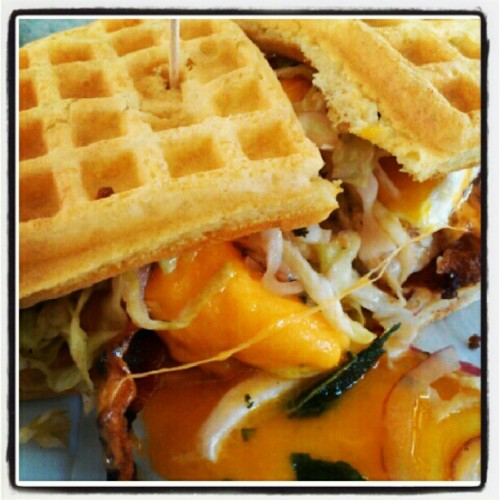 Chicken & waffles sammich w/ fried egg and bacon. That gooey yolk though… #food #noms #lunch  (Taken with Instagram at The Iron Press)