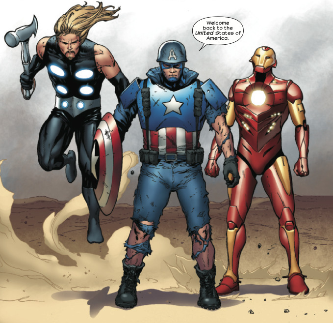 marvelentertainment:  MARVEL PANEL OF THE DAY From: Ultimate Comics The Ultimates #13  (on sale today, July 25, 2012) Captain America, Thor and Iron Man get the band back together…for America!  I made it! I made MARVEL PANEL OF THE DAY!!