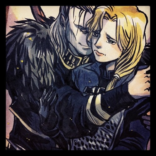 momochanners:  This is Goodbye (Taken with Instagram)  Eeeee~! My commission! The scene is from a drabble I did some while back called Under the Blue Sky, which in a way inspired another Anders drabble here. (I guess the sky is a theme I use a lot when writing about him.) Momochanners perfectly captured that deep friendship I was eager to see come across and the expressions are spot on to match the ficlet. You can see the peace on Anders' face, the appreciation he has of having a friend who stuck by him and who would do anything for him while Cecilia is already so sad that she's saying goodbye to a dear friend. OMG my feels right now. This is wonderful. It was well worth the wait, Momochanners, you fabulous artist. This piece is the perfect companion to my shoddy little fic. Thank you. Oh, and for those of you wanting to see it, here is the full sized image.  Seriously, if you've never commissioned momochanners for one of her sketch cards then go do it. They are very reasonably priced and, as you can see, amazing.