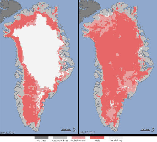 "Satellites See Unprecedented Greenland Ice Sheet Surface Melt Extent of surface melt over Greenland's ice sheet on July 8 (left) and July 12 (right). Measurements from three satellites showed that on July 8, about 40 percent of the ice sheet had undergone thawing at or near the surface. In just a few days, the melting had dramatically accelerated and an estimated 97 percent of the ice sheet surface had thawed by July 12. In the image, the areas classified as ""probable melt"" (light pink) correspond to those sites where at least one satellite detected surface melting. The areas classified as ""melt"" (dark pink) correspond to sites where two or three satellites detected surface melting. The satellites are measuring different physical properties at different scales and are passing over Greenland at different times. As a whole, they provide a picture of an extreme melt event about which scientists are very confident. Credit: Nicolo E. DiGirolamo, SSAI/NASA GSFC, and Jesse Allen, NASA Earth Observatory"