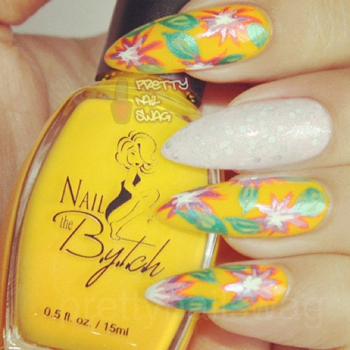 quick summer floral mani @nailthebytch - Not Ya Honey! Honey (Taken with Instagram)