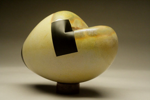 glassglassglass:  Chad Lacy Head, yellow + black glass, elm