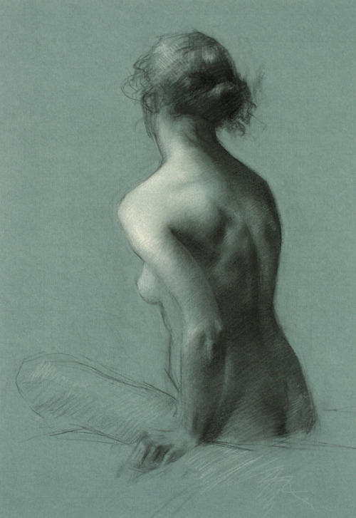 "Juliette Aristides Constance Charcoal heightened with white chalk 26/20"" Contemporary art"